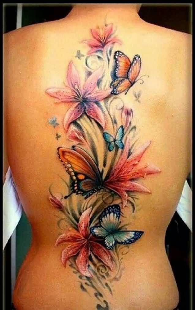 3D Colorful Flower And Butterfly Tattoo On Women Back