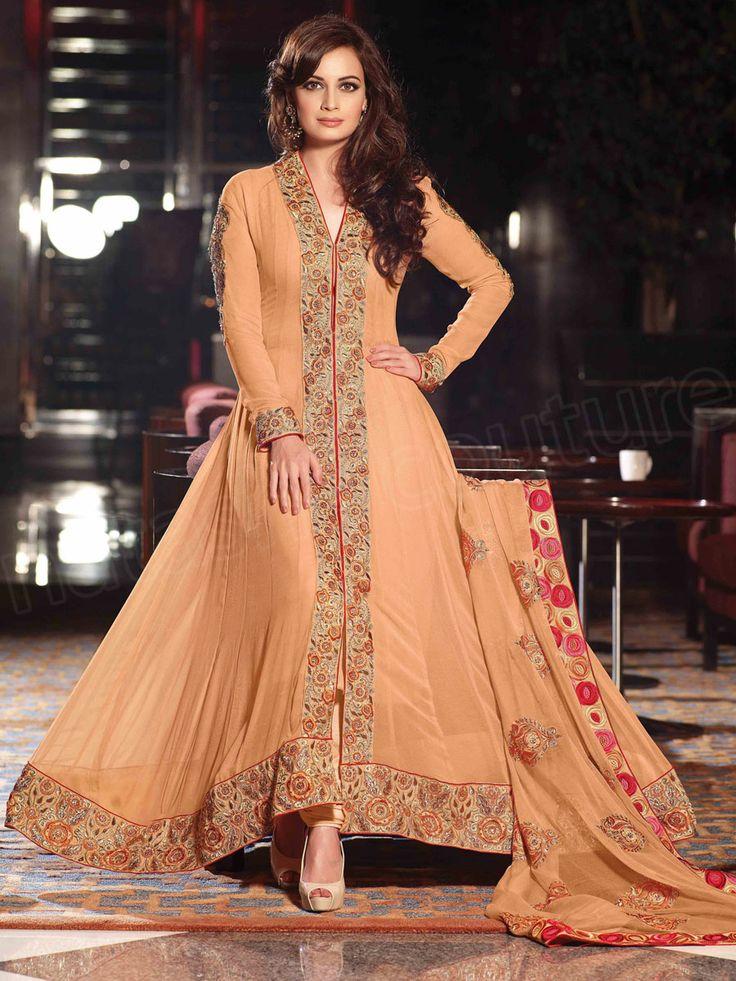 Designer anarkali light brown indian wear desi fashion natasha