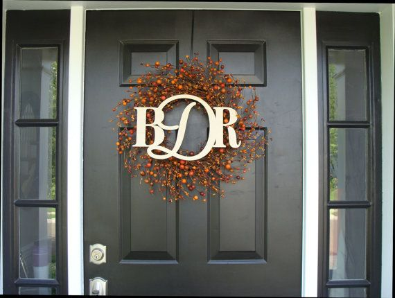 Fall Berry Monogram Wreath- Three Letter Wood Monogram- Fall Wreath with Monogram- Berry Wreath Door Monogram  20 inch on Etsy, $105.00
