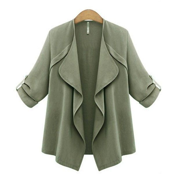 Yoins Yoins Trench Coat ($29) ❤ liked on Polyvore featuring outerwear, coats, coats & jackets, green, trench coat, green trench coat, green coat and waterfall coat