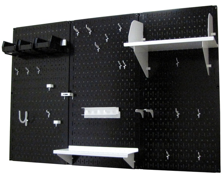 Black Pegboard with White Peg-Board Accessories by Wall Control Storage Systems
