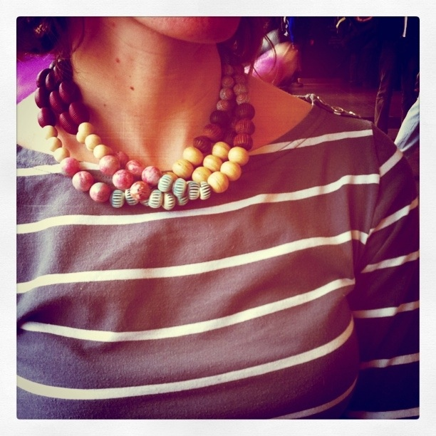 multistrand necklace with vintage beads