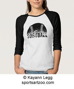 Grunge Softball Jersey Style Womens T-shirt by SportsArtZoo #softball #t-shirt
