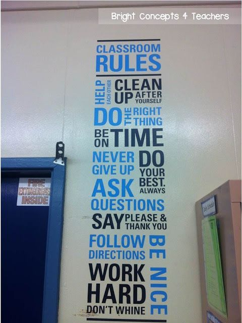 I want this for my classroom door. Wise Decor wall decal with classroom rules!