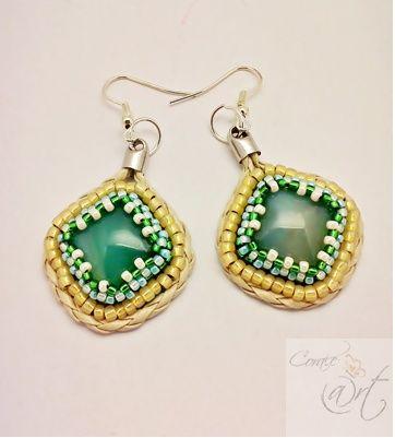 Corale-@rt, kolczyki z zielonym agatem,  beaded embroidery