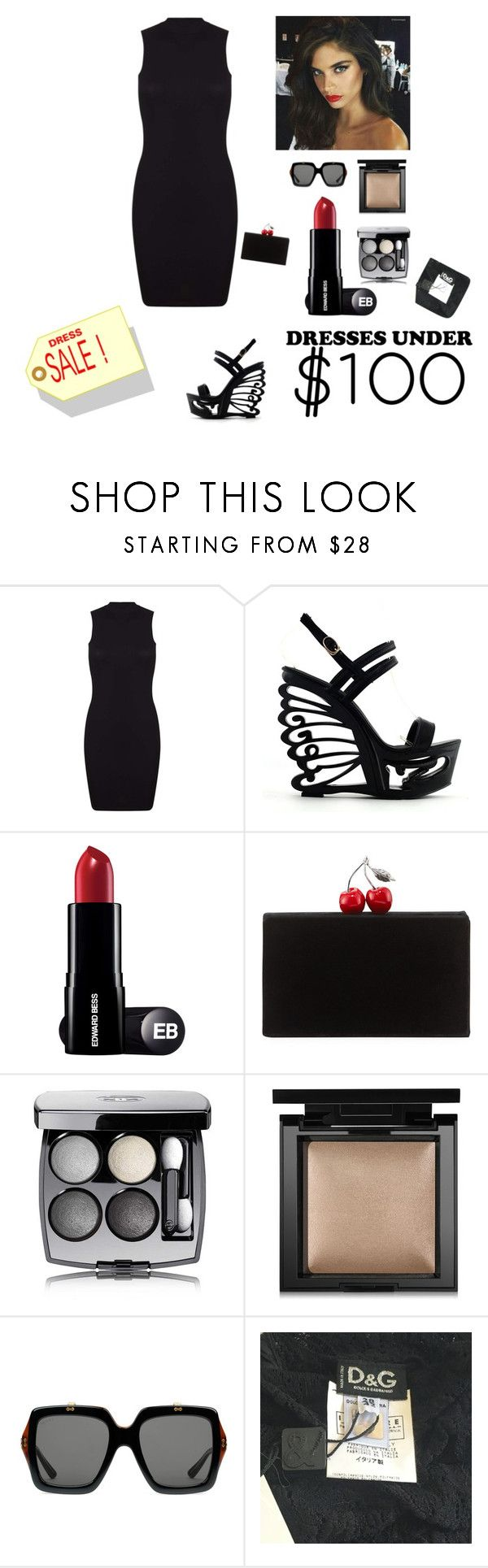 """""""Store Sale"""" by kotnourka ❤ liked on Polyvore featuring Miss Selfridge, Edie Parker, Chanel, Bare Escentuals, Gucci and D&G"""
