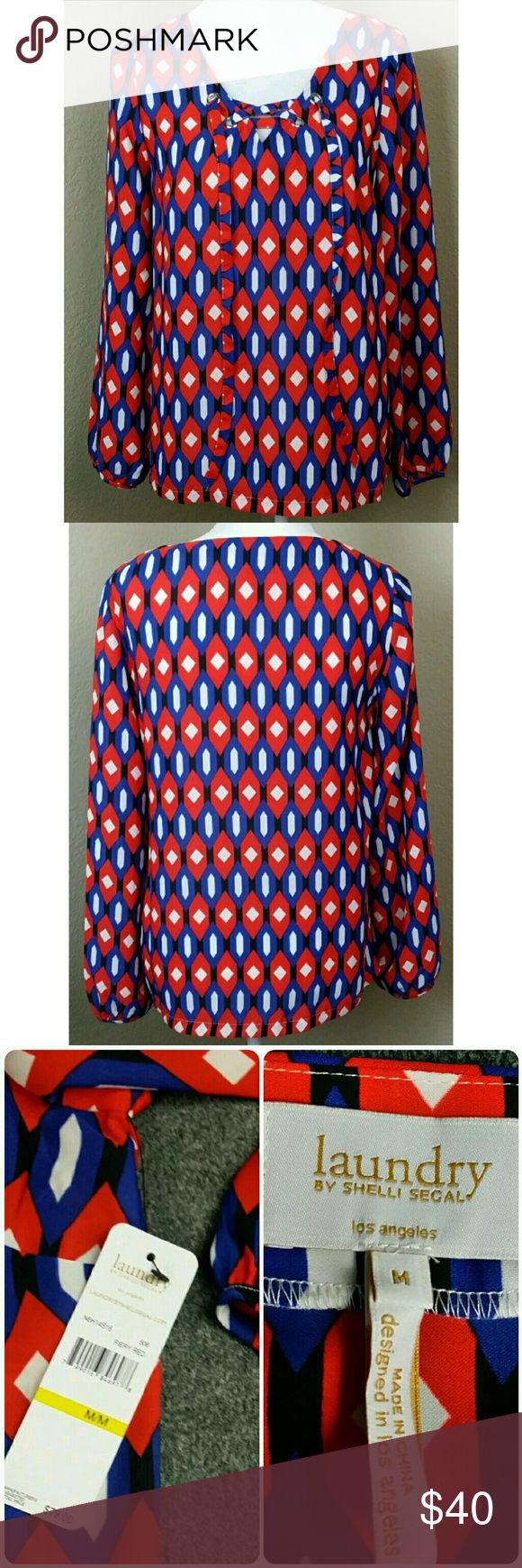 """Laundry Shelli Segal Fiery Red Laundry Shelli Segal laced front Top Shirt Fiery Red White & Blue Blouse Career Work Size: Medium  MSRP $79   measurements laying flat  armpit to armpit 18""""  length 26""""       1-18 Laundry by Shelli Segal Tops Blouses"""