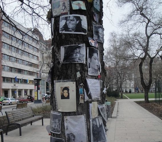 The Michael Jackson memorial tree at Elisabeth Square in Budapest, Hungary