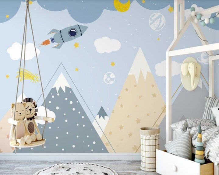 Peel And Stick Kids Wallpaper Space And Mountain Nursery Wall Etsy Kids Room Wall Murals Nursery Wallpaper Nursery Wall Murals