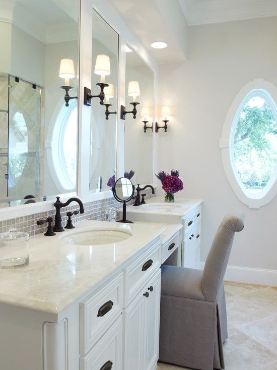his and hers sinks with vanity | , white marble countertops, oval undermount sinks, his and hers sinks ...