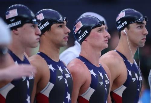 Peter Vanderkaay, Ricky Berens, Ryan Lochte & Michael Phelps. Men's 4x200 Free Relay Final. Beijing 2008.