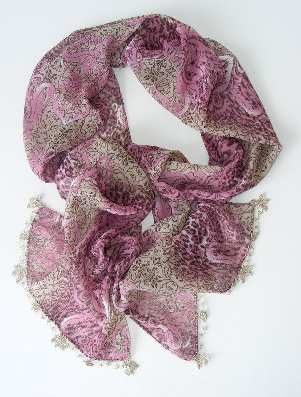 chiffon scarf ,women fashion scarves, purple beige, with lace new shawl neckwarmer cowl scarves,for woman,fashion accessories,for her. $15.00, via Etsy.