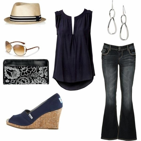 Spring summer fashion with designer jeans, Toms wedges, Sunglasses, hat, earrings and Timeless wallet from thirty-one.  $36.00 www.mythirtyone.com/dianecaudill