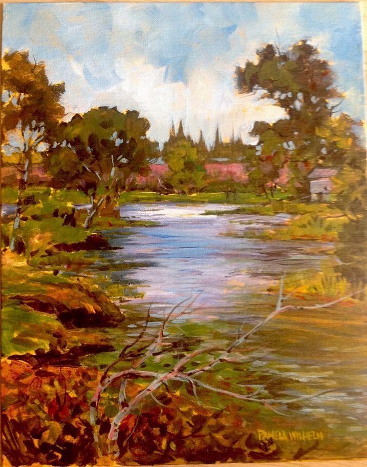 9 Miles N Of TRACY California, DELTA Plein Air Acrylic Painting Pamela Wilhelm #Impressionism