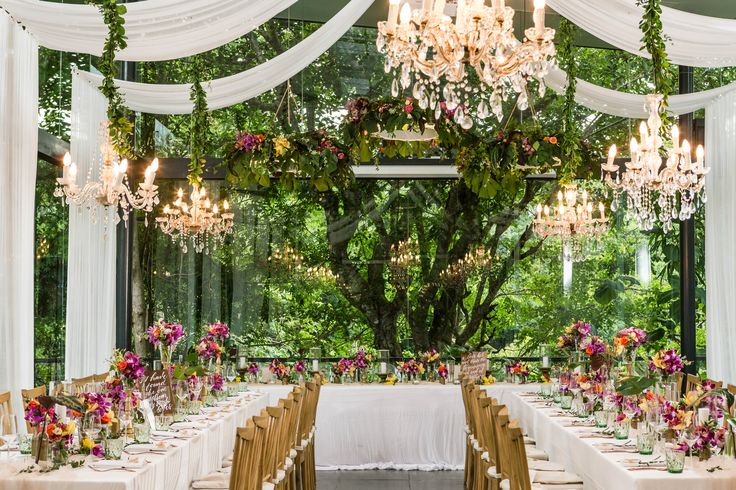 Tropical Destination Reception at mid of Forest Bridal Table