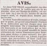 """""""Le Sieur Nouvelle, arquebusier...On y remarque des fusils tournants, et en trois pièces qui se brisent à volonté.... Il tient aussi une belle collection de cravaches, fouets, cannes et éperons de fantaisie dont l'Inventeur est breveté"""", Le Persévérant, 1843, Bfm Limoges"""