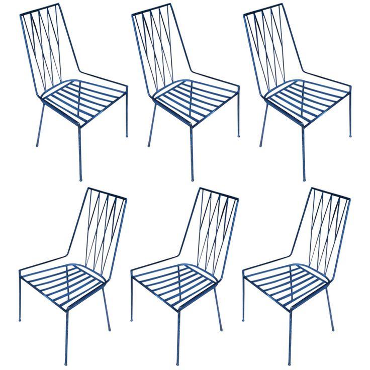 rare original set of paul mccobb iron chairs