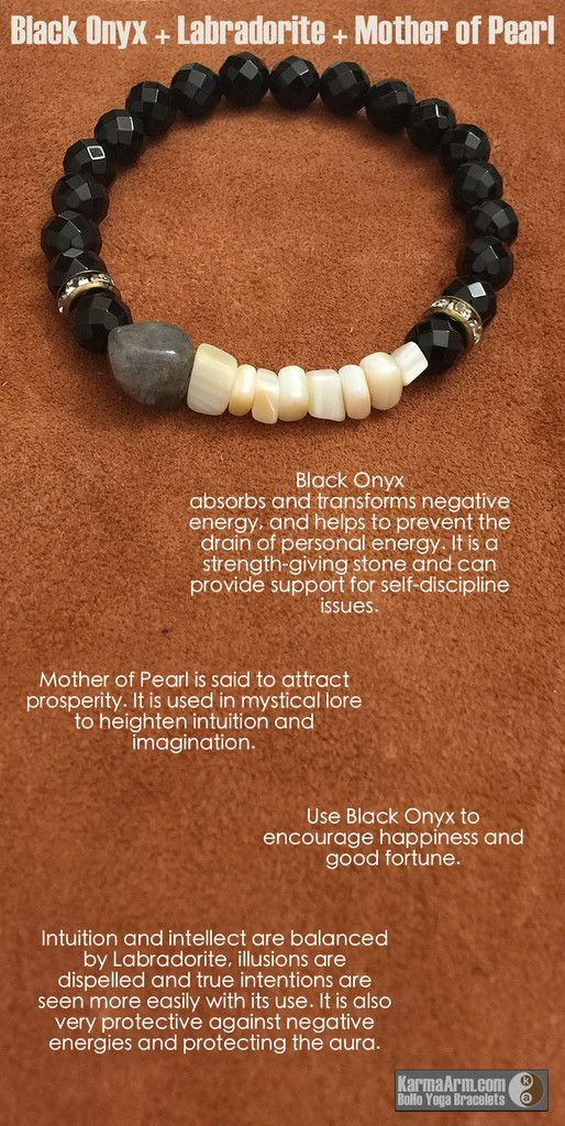 AFFIRMATION: I give thanks for the unknown blessings on their way. - Freeform Labradorite Gemstone Nugget - 8mm Faceted Black Onyx Round Gemstones - Mother of Pearl Gemstone Chips - Vintage Bronze Swa