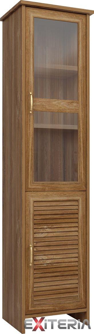 Elegantná úzka presklená vitrína Cintia 1 z lamina, dub