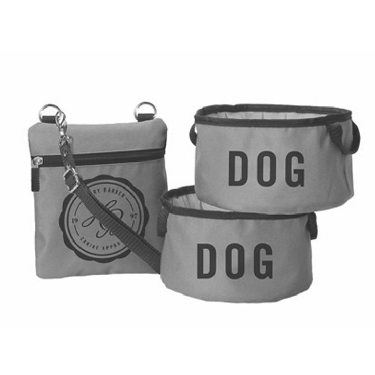 Whether you're taking your pup out for a long hike or traveling for an entire week, there's no need to lug around bulky food and water bowls, when you have our Fold Up Dog Bowls & Pouch. Made from heavy duty polyester fibers sourced from 100% certified recycled plastics, this collapsible dog bowl set includes two travel bowls with quick-dry, waterproof lining, and a coordinating carrying pouch that features a cross-body strap. Available in three colors: grey, blue and brown.