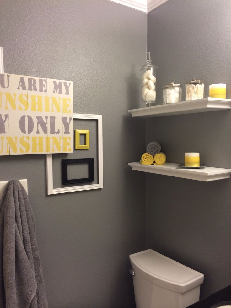 Bathroom ideas grey and yellow interior design for Yellow bathroom decor
