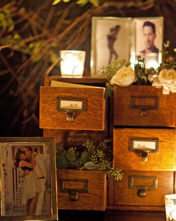 vintage card catalogs can be used to display pics and flowers, and also to collect memory cards.