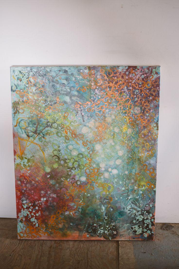 """'Breathe Under Water'  Ink & Oil on canvas 26""""x30""""  $900  info@DeserePressey.com"""