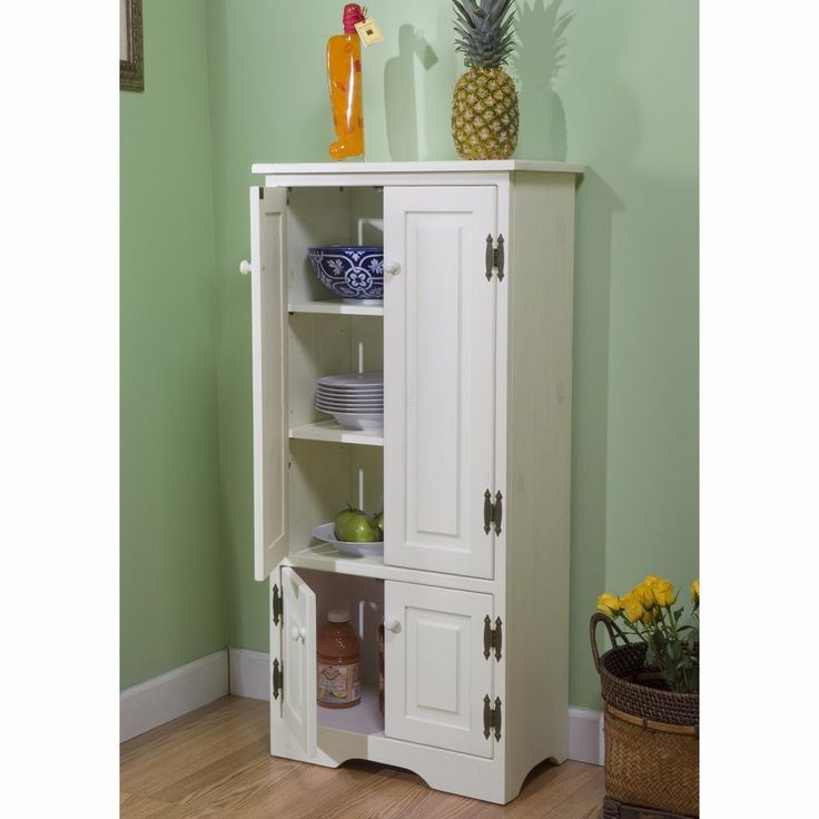 Kitchen Pantry Cabinet Free Standing Tall White With ...