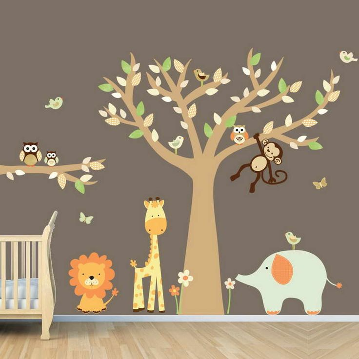 Baby Nursery Zoo Animal Wall Decal Decorating Room Decals Ideas Kid  Playroom Walls How To Art For Kids Rooms Bedroom Wall Decor Design Your Own  Decorate ...
