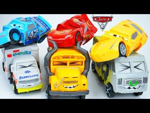 Disney Cars 3 Toys Demolition Derby Thunder Hollow Speedway Miss Fritter Lightning McQueen Cruz Toys - YouTube