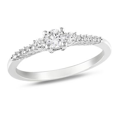 lab created white sapphire and accent promise ring