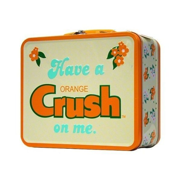 Orange Crush Metal Vintage Lunch Box ❤ liked on Polyvore featuring home, kitchen & dining, food storage containers, vintage metal lunch boxes, metal lunchbox, metal food storage containers, vintage food storage containers and vintage lunch boxes