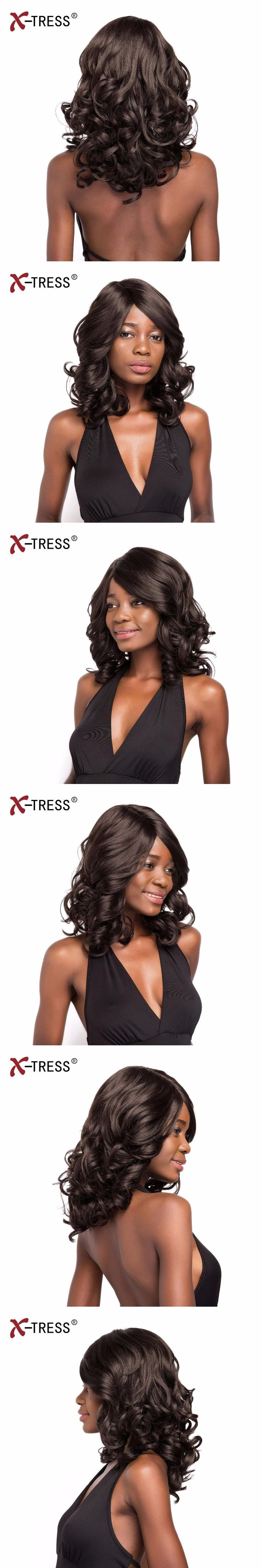 X-TRESS 14inches Wavy With Side Part Ombre With Bang Heat Resistant Loose Deep Wave WigsSynthetic Wig For Black Women
