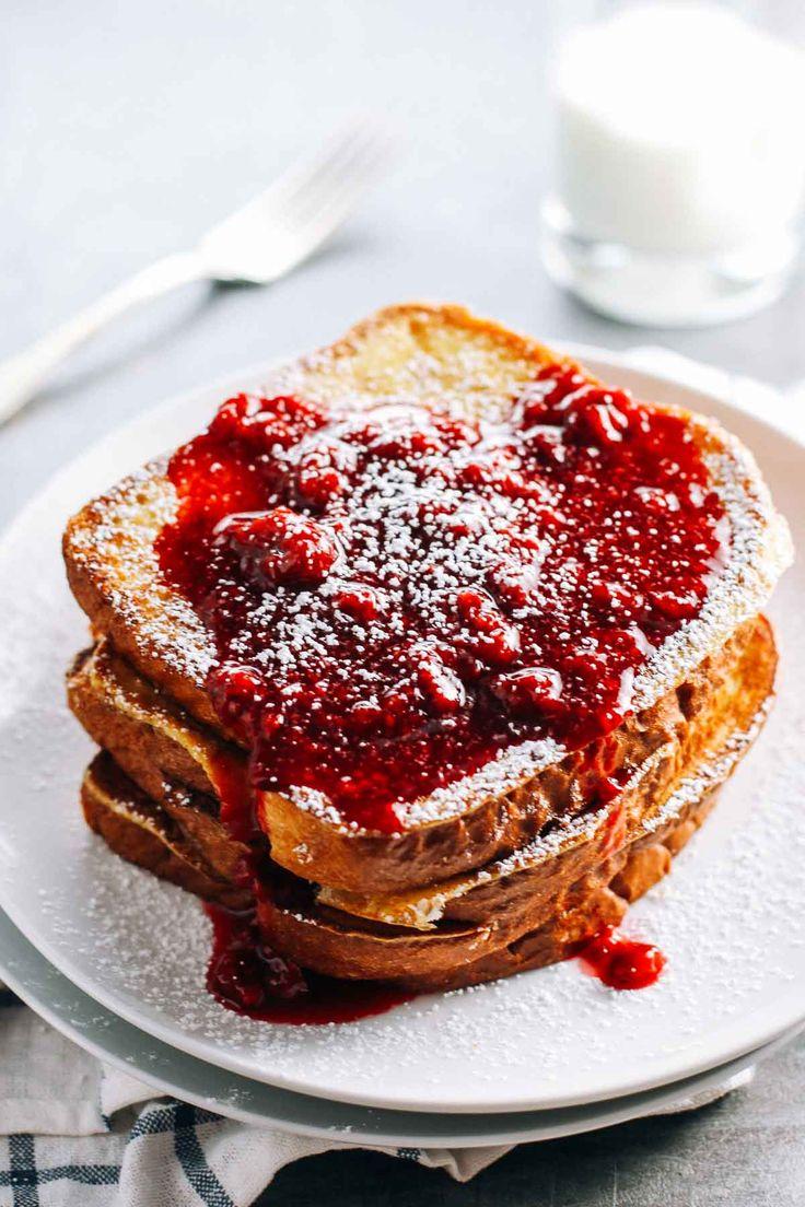 KING'S HAWAIIAN Eggnog French Toast topped with a homemade Honey Raspberry Sauce. Thank you, @pinchofyum.