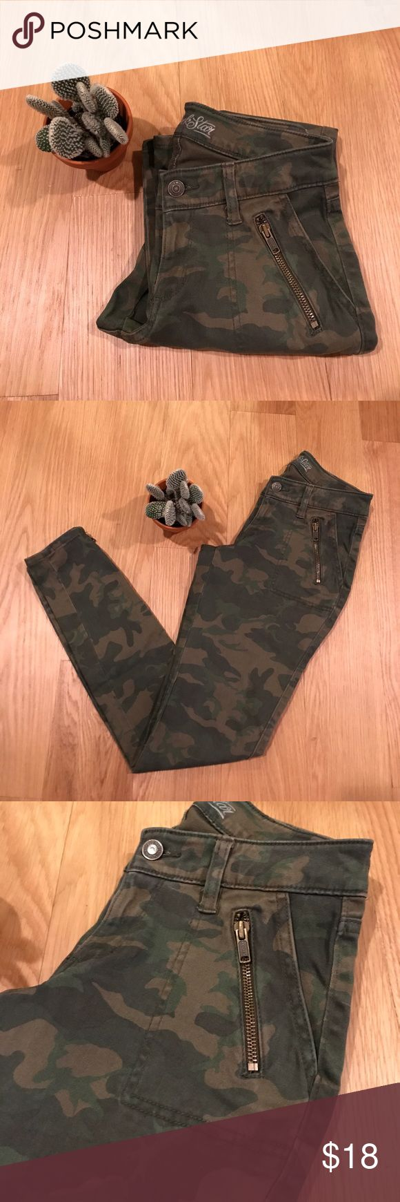 Old Navy Rockstar Camo Skinny Jeans Old Navy camo skinnies.  Rockstar fit (low rise). Zipper details on pockets and ankles.  Worn one time.  In perfect condition.  No signs of wear. Old Navy Jeans Skinny