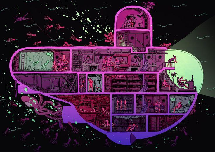http://arthuspilorget.tumblr.com/ космический корабль, подводная лодка