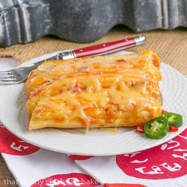 Mexican Chicken Manicotti | Pasta stuffed with creamy, spicy chicken and topped with melted cheese