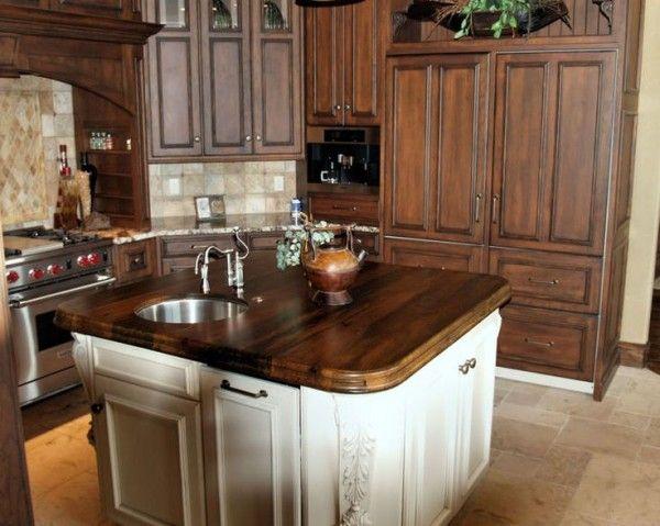 Custom Wood Kitchen Countertops With Round Undermount Bar Sink Also 4 Burner Gas Range From Wolf