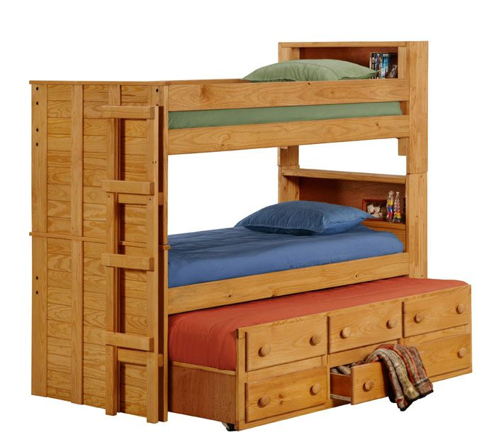 3905T Twin Bookcase Bunk Bed W Trundle Unit 83L X