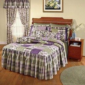 Lavender Patchwork Quilted Bedspread - Priscilla