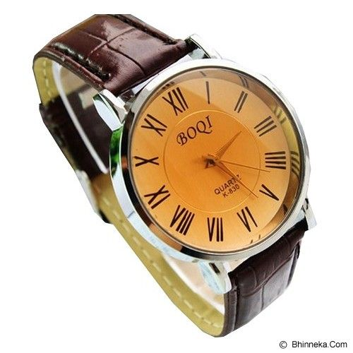 BOQI Roman Numeral Leather Band Quartz Watch [K-830] - Brown - Jam Tangan Pria Casual