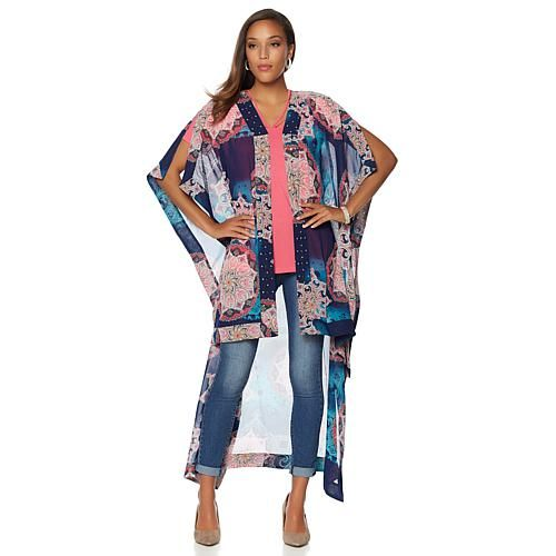 Wendy Williams Chiffon Drama Lightweight Topper - Bohemian Print