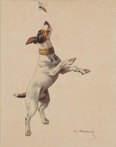 """""""Jack Russell Catching a Bee"""" by Charles Fernand de Condamy, French animal painter, 1855-1913"""