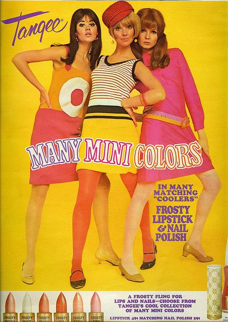 Sorbet colors in an ad from the sixties. I believe the model on the far left is Colleen Corby, my favorite model when I was a tween. She was so popular that there are websites dedicated to her even all these years later. (I feel a new board coming on!)