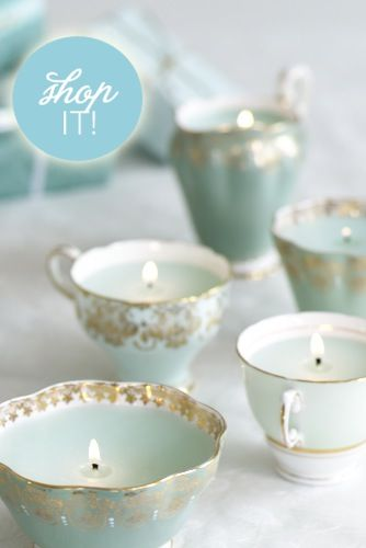Shop Tea Cup Candles: Perfect For Garden Weddings, Tea Party Bridal Showers