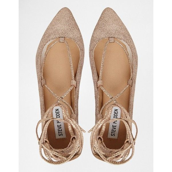 Steve Madden Eleanorr Rose Gold Wrap Ballerina Flat Shoes ($112) ❤ liked on Polyvore featuring shoes, flats, ballet pumps, metallic flats, ballet flat shoes, metallic ballet flats and lace up pointed toe flats