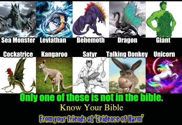 The kangaroo is not in the Bible, but all of these mythological creatures illustrated above are spoke of as if they were real. We're not supposed to take those stories literally you say?  Which parts of the Bible have been deemed fact?  Who's deciding this for us?  Why isn't any religion in agreement on what to interpret literally vs what is fable?