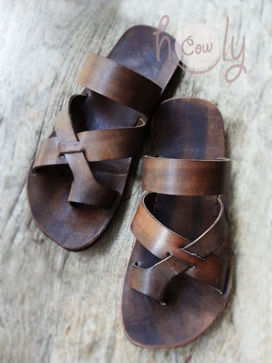 100% Handmade Brown Leather Sandals by HolyCowproducts on Etsy