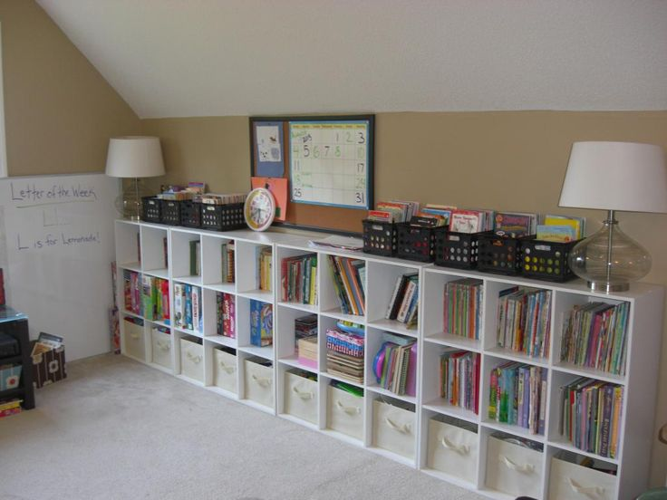 Love cubbie shelving... Used here for a homeschool library