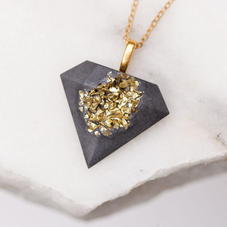 Concrete Druzy Diamond Necklace Gold